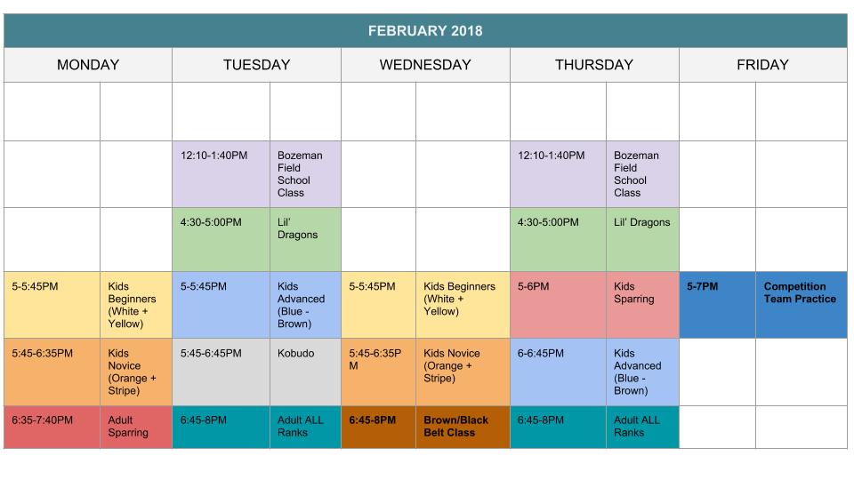 karate-schedule-february-2